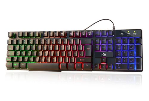 Rii K100+ Tastatur Mischfarbe LED Tastenbeleuchtung Gaming keyboard Deutsch