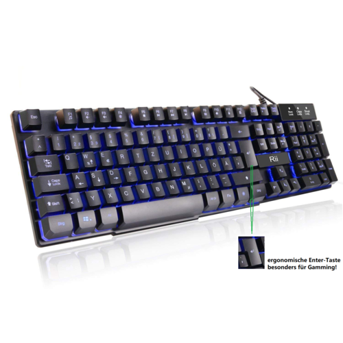 Rii K100 Gaming Tastatur 3 Farben LED Beleuchtung Anti-Ghosting Keyboard Deutsch