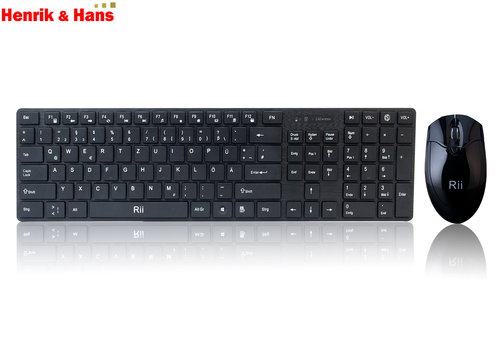Rii RK904 Kabellos Funk Tastatur Maus Set Wireless Keyboard Mouse Combo Deutsch